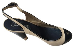 Chanel Beige and Noir Platforms