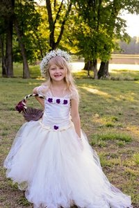 Ivory Tutu Flower Girl Dress - Satin Lace Tulle Purple Flowers
