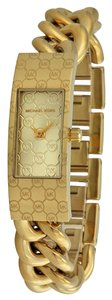 Michael Kors Gold tone Stainless Steel Chain Link Strap MK Logo Print Designer Dress Watch