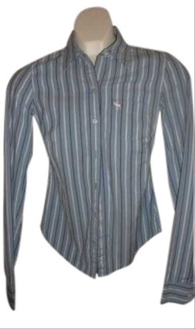 Abercrombie & Fitch & Stretch Shirt Size Xs Baby With White And Navy Measurements Are 16 Button Down Shirt Blue w/ Pinstripe