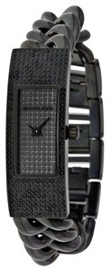 Michael Kors Black Ion Plated Crystal Pave Stainless Steel Chain Link Strap Designer Luxury Watch