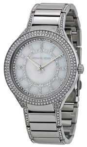 Michael Kors Mother of Pearl and Crystal Pave Dial Silver tone Stainless Steel Designer Watch