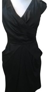 Le Château Ruched Draped Sheath Satin Structured Dress