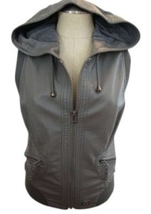 Buffalo David Bitton Vest Hoodie Grey Leather Jacket