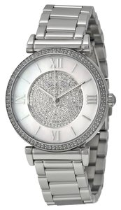 Michael Kors Crystal Pave Dial Silver tone Stainless Steel Designer Casual Watch