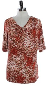 Jones New York Animal Print Top Orange