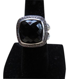 David Yurman Albion Collection - 14mm Black Onyx/Pave' Diamond SS Ring ; Size 6