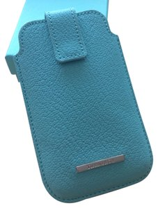 Tiffany & Co. Tiffany & Co Blue Grain Leather iPhone Cover Case