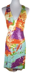 Naeem Khan Silk Sequin Low Back Mini Size 4 Dress