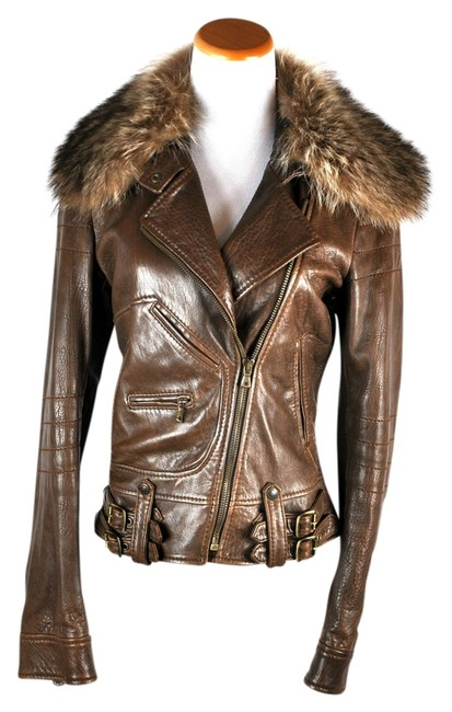 Item - Brown Leather Moto Removable Fur Collar 42/6 Jacket Size 6 (S)