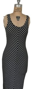 Black and grey Maxi Dress by Maxi Chevron Back Cutout