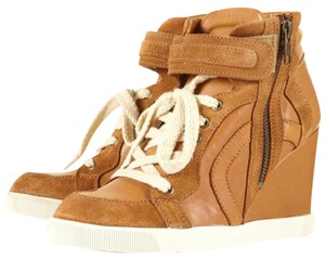 Topshop Wedge Sneaker Zip Tan Athletic
