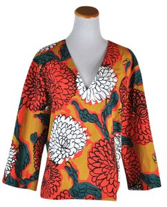 Marni Floral Print Cotton Shirt Long Sleeve Loose Fit V Neck Top Multicolor