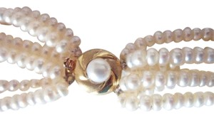 Other 14k Yellow Gold 6 strand genuine Pearl Necklace 110 grams
