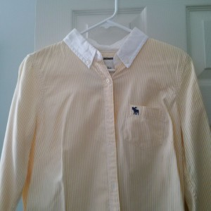 Abercrombie & Fitch Button Down Shirt Yellow/White