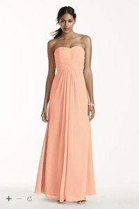 David's Bridal Bellini Long Strapless Chiffon With Pleated Bodice Dress