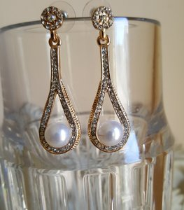 Bridal Gold Plated Pearl Drop Earrings
