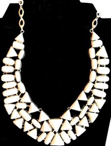 Beautiful White Coral 925 Sterling Silver Bib Statement Necklace