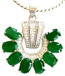 Elegant Real Natural Emerald White Topaz 925 Sterling Silver Pendant Necklace