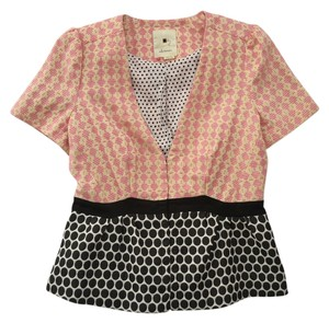 Elevenses Anthropologie Tweed Peplum Top Pink/Black/White