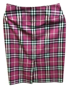 Burberry Brit Front Pockets Lined Plaid Skirt Hot Pink