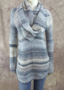 Saks Fifth Avenue 915 Beige Gray Wool Blend Cowl Neck Infinity Tunic Sweater
