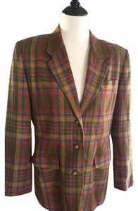 Gap Preppy Prep School Hipster Vintage Wool Bronze Tan Long Sleeve Structured Copper Teal Multi Plaid Blazer