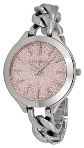 Michael Kors Pink Crystal Pave Dial Silver tone Stainless Steel Chain Twist Strap Casual Watch