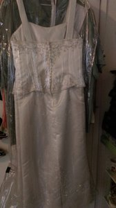 Alfred Angelo Off White Satin Modern Wedding Dress Size 8 (M)