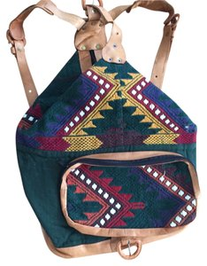 Other Boho Woven Aztec Backpack