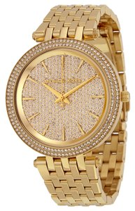Michael Kors Crystal Pave Dial God tone Stainless Steel Designer Luxury Dress watch