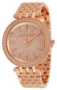 Michael Kors Rose Gold Crustal Pave Dial Stainless Steel Designer Luxury Watch