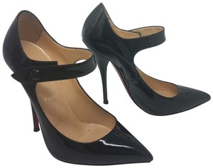 Christian Louboutin Patent Leather Pointed Toe Mary Jane Pigalle Neo Pensee Black Pumps