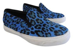 Jeffrey Campbell Designer Sneaker Fur Leather Cheetah Leopard Print bright blue and black Flats