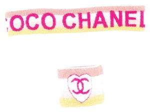Chanel Pink, white, yellow Chanel interlocking CC sweatband set New