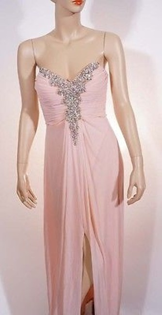 Item - Womens Nude Beige Strapless Embellished Ruched Chiffon Gown Dress