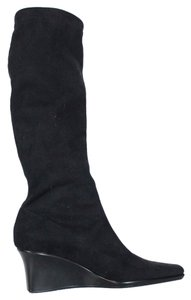 Sesto Meucci Wedge Knee High Suede Black Boots