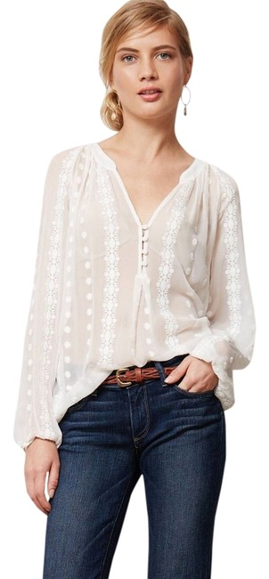 Item - Ivory Anthropologie Peasant Sheer Embroidered Boho Blouse Size Petite 2 (XS)