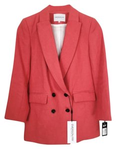 Emerson Fry Longline Double Breasted Jacket Linen Suiting Nwt Coral pink Blazer