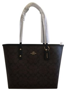 Coach Tote in Imitation Gold/Brown/Black