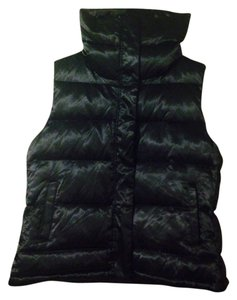 Talbots Shiny Gold Zipper Gold Buttons Down Vest