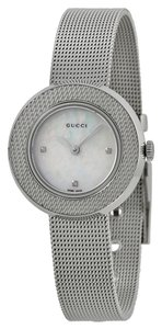 Gucci GUCCI U-Play Diamond Mother of Pearl Dial Stainless Steel Mesh Ladies Watch YA129517