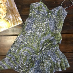 Trina Turk short dress Blue and green with silver on Tradesy