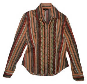 Etro Striped Bold Stripe Pleated Button Down Shirt