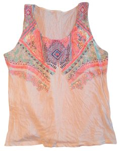 Other Bohemian Hipster Boho Bright Colors Geo Geometric Top White melon orange mint green silver