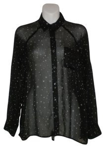 Express Sheer Star Print Button Down Shirt