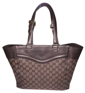 Gucci Canvas Leather Studded Base Satchel in Brown