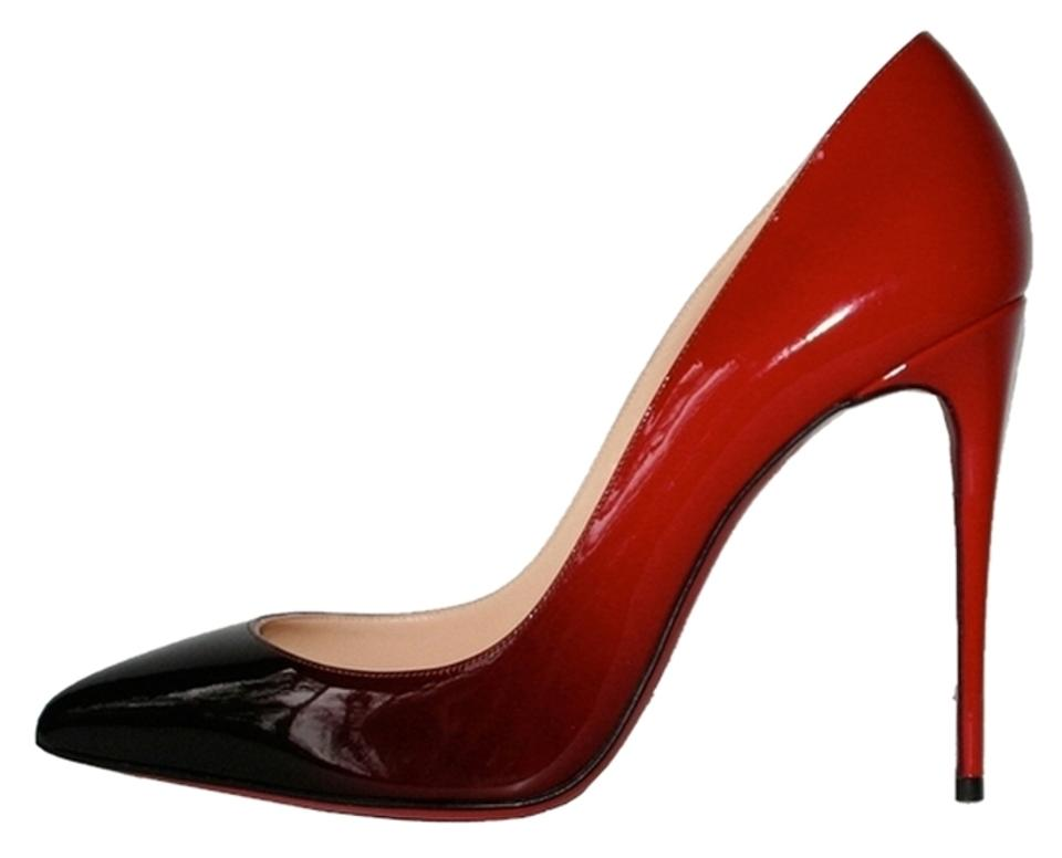 d5cca72a9b0 Christian Louboutin Red Ombre Pigalle Follies 100 Degrade Patent Leather  Black Pumps Size US 7