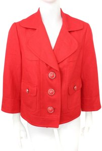 Peter Nygard 3/4 Sleeves Linen Blend Blazer Red Jacket