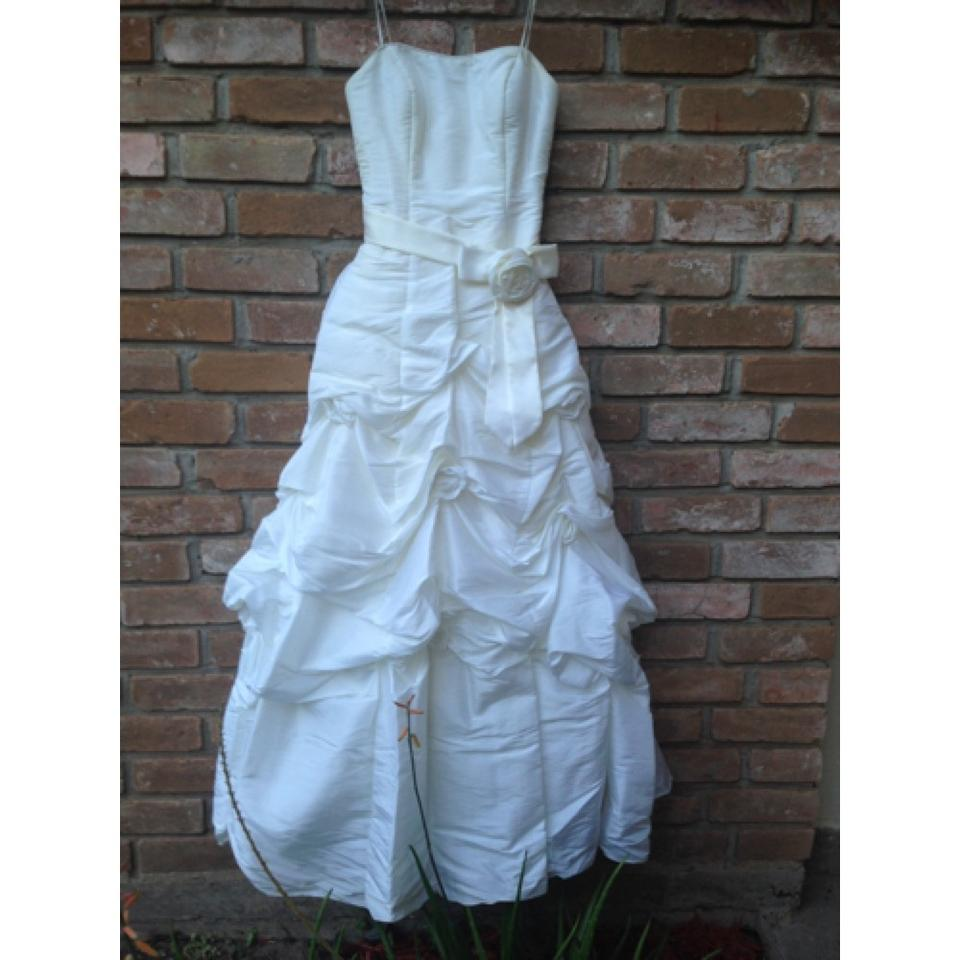 Mori lee ivory taffeta traditional wedding dress size 4 s for Mori lee taffeta wedding dress